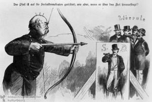 """Karikatur auf die """"Sozialisten-gesetze"""" Bismarcks, aus dem Kladderadatasch, 1878."""